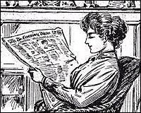 cartoon of woman reading the Evening News