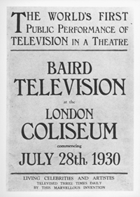 Poster advertising public demonstration of television, 1930