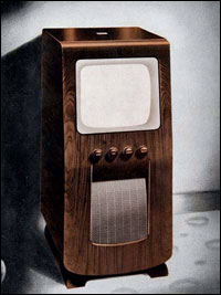 An HMV model 1803 television from 1950
